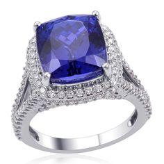 Liquidation Channel | RHAPSODY 950 Platinum Tanzanite (4A Graded | 9.75 cts) and Diamond Ring