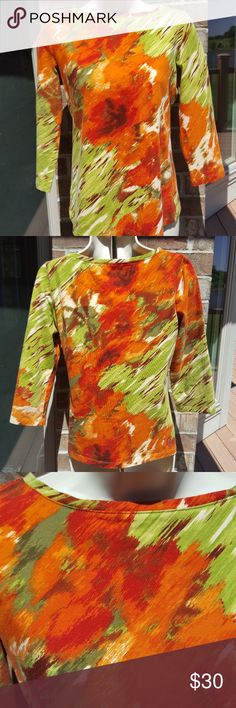 "Talbots beautiful lightweight sweater Talbots,  lightweight 3/4 sleeved, size Small, 96% cotton 4% spandex,  beautiful watercolor print of orange,  green and brown,  bust 18"" length about 22 3/4"", EUC,  smoke free home. Talbots  Sweaters Crew & Scoop Necks"