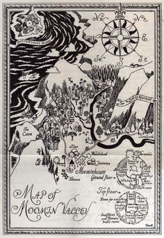 Map of Moomin Valley by Tove Jansson.