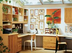 Cool workspace from California Closets Home Office Orange