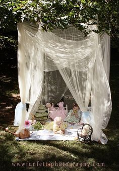Enchanted Forest Tea Party. For Zs party I think i want to drape this fabric over the pergola and have all the fairy party stuff on the underside. It'll make it more intimate a pot and so pretty!!!