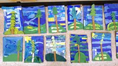 Emily Carr painting inspired tree collages by second graders.  link to directions and resources