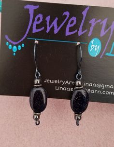 Blue Sandstone and Hematite Dangle Earrings