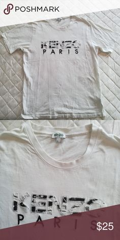 Kenzo T-shirt White Kenzo T-shirt with logo on front.Size L. Gently worn, still in good condition Kenzo Shirts Tees - Short Sleeve