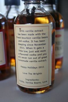 Homemade Vanilla Extract..I love the label!!