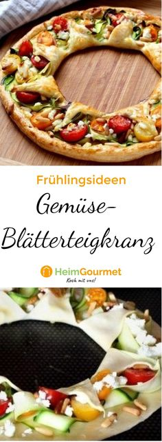 Fascinatingly delicious vegetable puff pastry wreath with cheeky P-Faszinierend leckerer Gemüse-BLÄTTERTEIG-Kranz mit frechen PINIENKERNEN – so geht's! Step by step instructions for a filled wreath - Easy Smoothie Recipes, Snack Recipes, Easy Recipes, Healthy Recipes, Desserts Végétaliens, Vegetable Tart, Healthy Brunch, Finger Foods, Food And Drink
