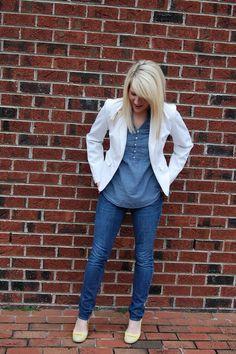 White Blazer. Love this girl's style!