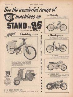 NSU -- MOTORCYCLES / SCOOTERS / MOPEDS - Varies Models (1956 Advertisement)   eBay