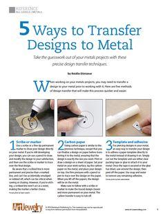 5 Ways to Transfer Designs to Metal | Art Jewelry Magazine