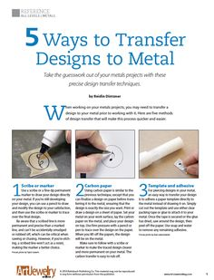 5 Ways to Transfer Designs to Metal | Art Jewelry Magazine
