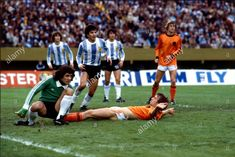 Stock Photo - World Cup final 1978 Holland 1 Argentina 3 after extra time Rob Rensenbrink streched out on the floor, after a challenge with Ubaldo Fillol (goalkeeper) for the ball River World Cup Final, Soccer Stars, Best Player, Goalkeeper, Fifa World Cup, All Over The World, Finals, Challenges, Football