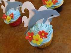 Dolphin cupcakes to go with Grant's birthday surprise