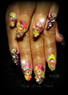 Nail Art  Acrylic nails  Neon colors