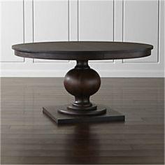 Crate Barrel Winnetka 48 Round Dark Mahogany Extendable Dining Table