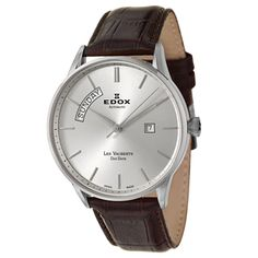 Edox Men's 'Les Vauberts' Brown Leater and Stainless Steel Swiss Automatic Watch   Overstock.com Shopping - The Best Deals on EDOX Men's Watches