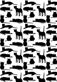 Today I created another free printable cat pattern paper for you! The black and white colored paper features a variety of cat silhouettes...