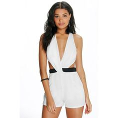 00edc3c231 Boohoo Night Olivia Wrap Over Contrast Waist Playsuit ( 26) ❤ liked on Polyvore  featuring