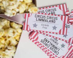 Bastelideen mit Papier - Free Printable - Popkorntüten und Eintrittskarten - www.limmaland.com