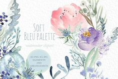 Soft Blue Peonies Watercolor clipart by LABFcreations on @creativemarket