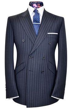 Navy blue city stripe two piece double breasted peak lapel suit
