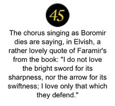 I didn't know this! (Love the quote from faramir) wayyy cool that they included this element from the books