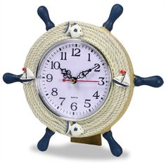 - NAUTICAL KITCHEN. Boat steering wheel shape clock features Fish Sailboats & Rope accents on blue painted wood - NAUTICAL CLOCKS. UNIQUE GIFT IDEA give to Mom, Grandma, Sister or Friend for their Bir