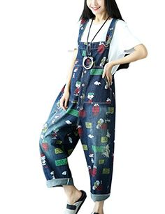 924cbcd1390 Flygo Women s Loose Charlie Brown Printed Distressed Capri Denim Bib Overalls  Jumpsuit Rompers with Pockets (