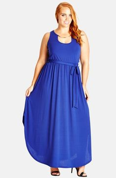 Free shipping and returns on City Chic Embellished Neck Maxi Dress (Plus Size) at Nordstrom.com. Forming a gleaming goldtone necklace, a metal bar across the cutout neckline makes a polished focal point for a fluid jersey maxi dress. The sleeveless style flatters with a fitted bodice, sash-wrapped elasticized waist and flared skirt cut with a graceful shirttail hem.