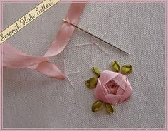 Wonderful Ribbon Embroidery Flowers by Hand Ideas. Enchanting Ribbon Embroidery Flowers by Hand Ideas. Diy Lace Ribbon Flowers, Ribbon Flower Tutorial, Ribbon Embroidery Tutorial, Ribbon Art, Silk Ribbon Embroidery, Ribbon Crafts, Fabric Flowers, Embroidery Stitches, Embroidery Patterns