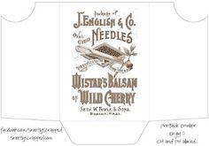Printable Sewing Notions Envelope.... Needles....