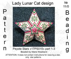 Christmas 3D peyote star beading pattern Beaded star pattern Seed Bead Patterns, Peyote Patterns, Star Patterns, Beading Patterns, Seed Bead Art, Seed Beads, Peyote Beading, Beadwork, Beaded Christmas Ornaments