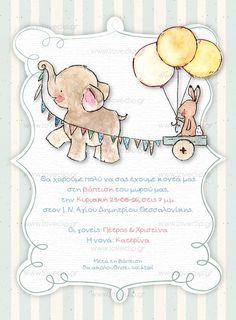 ELEPHANT PARADE  Προσκλητήριο βάπτισης με ελεφαντάκι και λαγουδάκι, μπαλόνια, ριγέ background και λευκό διακοσμητικό πλαίσιο. Elephant Parade, Winnie The Pooh, Disney Characters, Fictional Characters, Teddy Bear, Romantic, Invitations, Comics, Boys