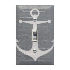 SALE Gray Anchor Light Switch Plate Cover / Baby Boy Girls Nautical Nursery Decor / Sea Bathroom Switchplate Grey White / Premier Prints