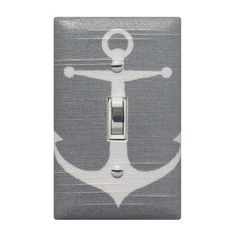 SALE Gray Anchor Light Switch Plate Cover / Baby Boy Girls Nautical Nursery Decor / Sea Bathroom Switchplate Grey White / Premier Prints