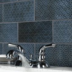 Merola Tile Take Home Tile Sample - Camden Decor Azurro 4 in. x 8 in. Ceramic Wall-S1WMZ4CMDAZ - The Home Depot