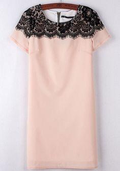 Light Pink Patchwork Lace Short Sleeve Chiffon Dress