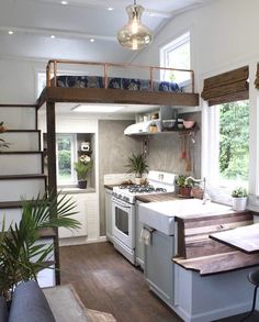 It is not impossible if you live in a tiny house with your family. Today, a tiny house interior is really impressive. You can still live in a small house even space seems not enough for you. A tiny ho Tyni House, Tiny House Living, Small Living, Living Spaces, Bus Living, Tiny House Kitchens, House Floor, Small Cabin Kitchens, Living Rooms