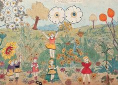 175 AT JENNIE RICHEE. EVERYTHING IS ALLRIGHT (detail)/ Henry Darger (1892–1973), Chicago, mid-20th century, watercolor, pencil, carbon tracing, and collage on pieced paper, double-sided, 24 x 108 1/4 in., American Folk Art Museum purchase, 2001.16.2a, © Kiyoko Lerner, photo by James Prinz.