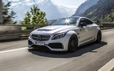 Download wallpapers Prior-Design, tuning, PD65CC, Mercedes-Benz C300 Coupe, 2017 cars, supercars, road, Mercedes