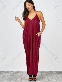 Погружаясь шеи свободная посадка платья макси - Красное вино 2XL