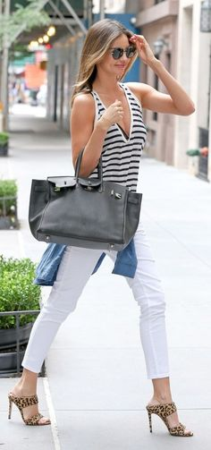 White jeans are a summer staple. Here's how to style them inspired by Miranda Kerr's outfit.