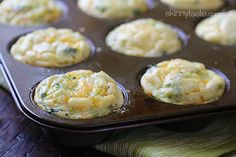 Broccoli and Cheese Mini Egg Omelets - I love making a batch of these mini egg omelets - they are EASY to make, and I have breakfast ready for the next few days. I pop them in the microwave for one minute and they taste as good as when I first made them. This is perfect to make ahead for busy weekdays, and they are high in protein, so they fill you up. www.skinnytaste.com