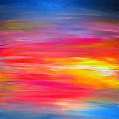 BRIGHT HORIZONS Bold Colorful Fine Art Giclee Print by EbiEmporium, #modern #colorful #ombre #art #fineart #decor #homedecor #walldecor #artprint #print #affordableart #rainbow #boldcolors #sunrise #sunset #red #pink #yellow #blue #stripes #abstract #painting #whimsical #EbiEmporium