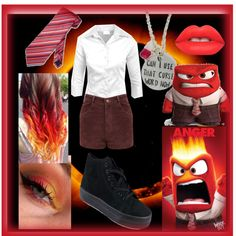 Disney's Inside out Anger Costume by meghan1 on Polyvore featuring polyvore fashion style Miss Selfridge Glamorous Lime Crime Disney Ring of Fire