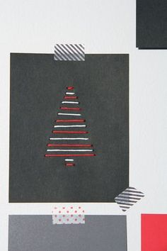 Pinjacolada: DIY Xmas cards - would be cute with buttons on the strings. Pretty Christmas Trees, Christmas Tree Design, Christmas Tree Cards, Christmas Crafts For Kids, Christmas Projects, Christmas Diy, Xmas Cards To Make, Advent, Diy Cards