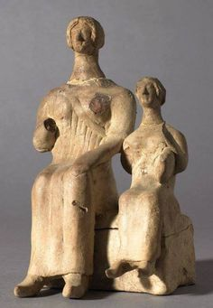 Terracotta group representing the Goddesses Demeter and Persephone -  from Melos, circa 4th c. BC - at the British Museum