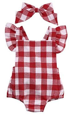 Newborn Infant Baby Girls Clothes Plaids Checks Romper Jumpsuit Bodysuit Outfits 612 Months Red * Check out the image by visiting the link.