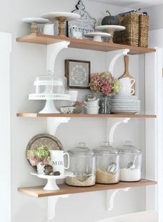49 Stylish Rustic Kitchen Decor Open Shelves Ideas - Page 40 of 49 - Decorating Ideas - Home Decor Ideas and Tips Rustic Kitchen Decor, Farmhouse Decor, Kitchen Ideas, Farmhouse Ideas, Diy Kitchen, Modern Farmhouse, Open Kitchen, Kitchen Shelf Decor, Rustic Cafe