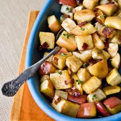 Roasted apples and celery root (celeriac) with a maple-bacon glaze make a perfect fall side dish.