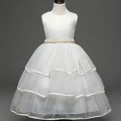high-grade girls princess dress children's hand sewing beads belts white gauze gown flower girl dresses
